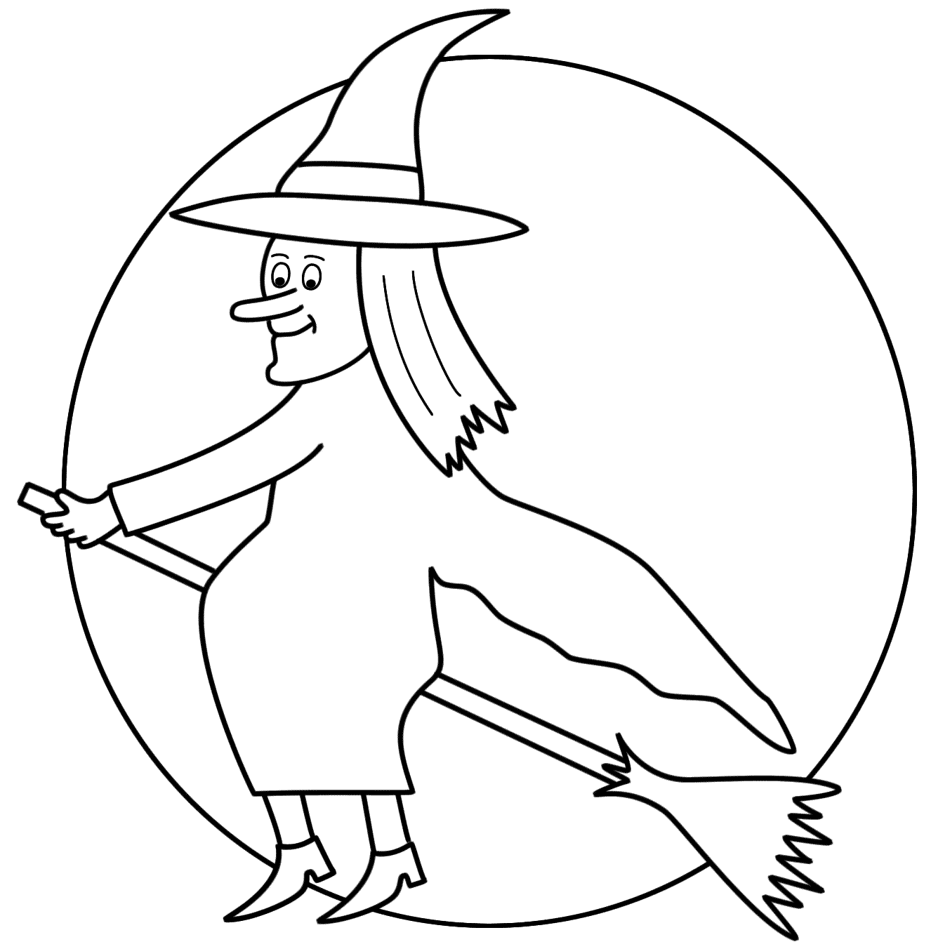 Coloring Pages Of Witches On A Broom