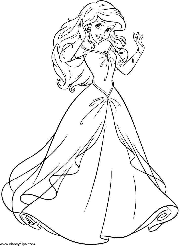 Disney Princess Coloring Pages Ariel In A Dress Coloring