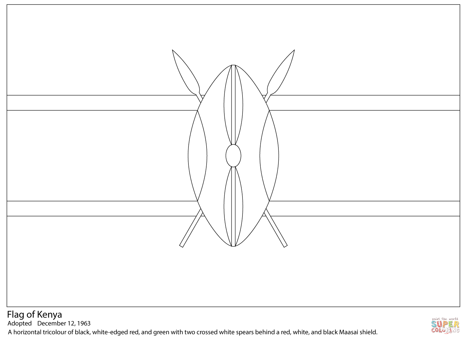 Kenya Flag Coloring Page