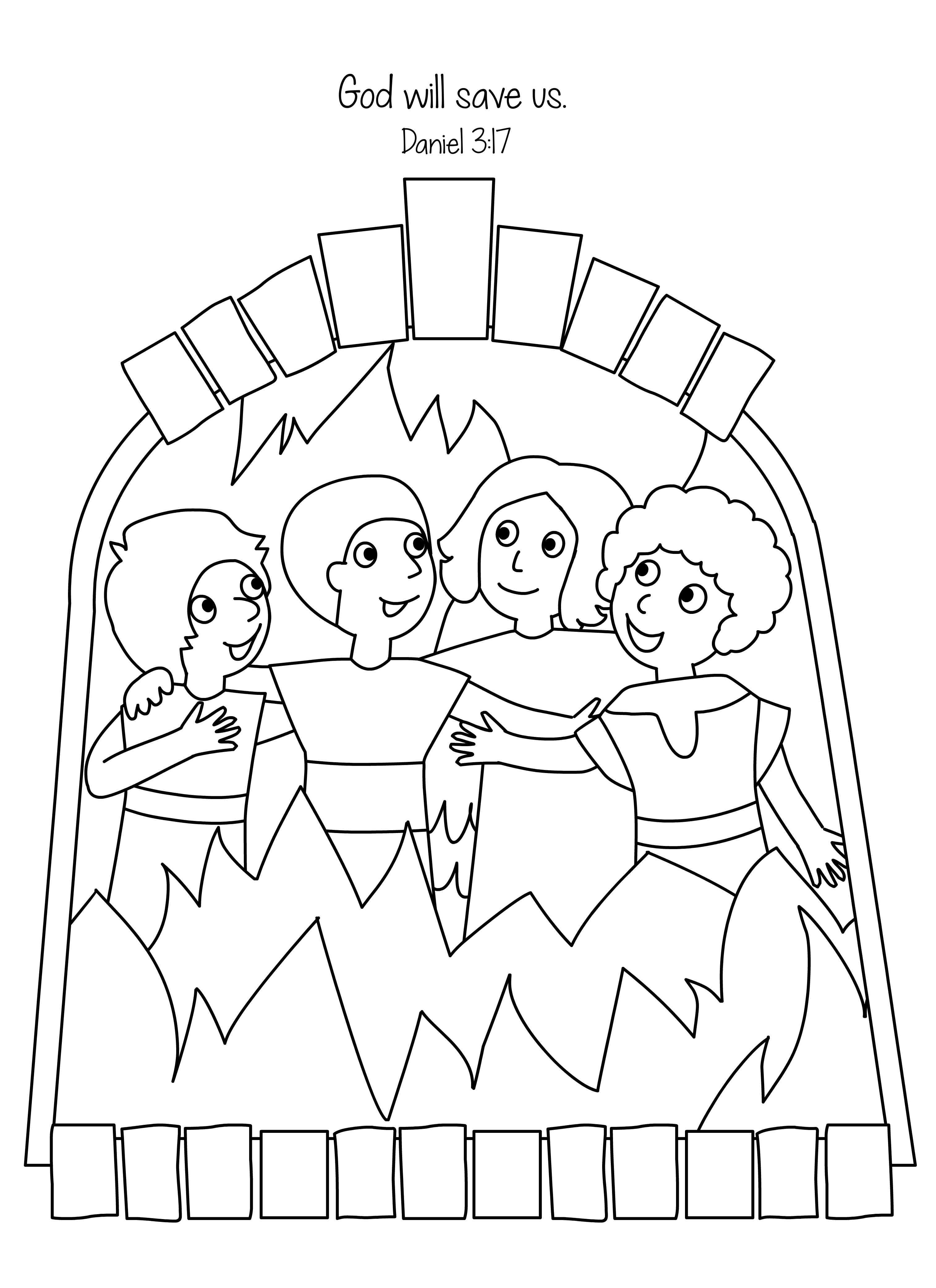 Fiery Furnace Coloring Page Coloring Pages