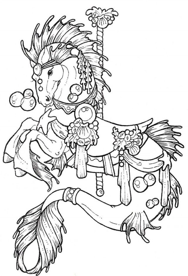 seahorse free adult coloring page