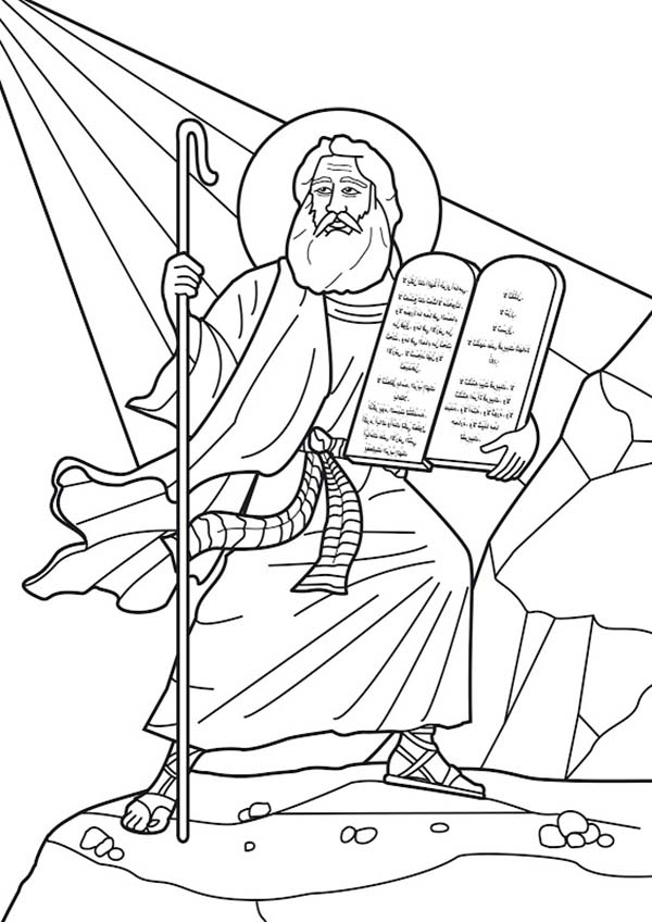 Printable Ten Commandments Stone Tablets Sketch Coloring Page