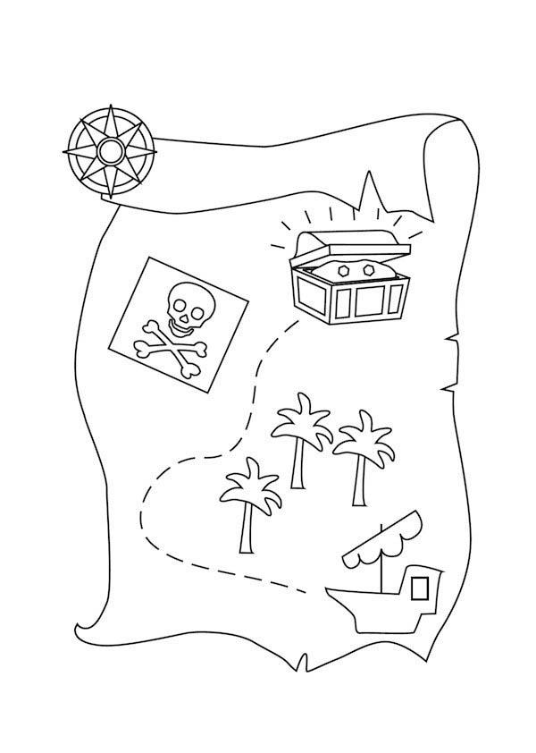Treasure Map Page Preschool Coloring Pages