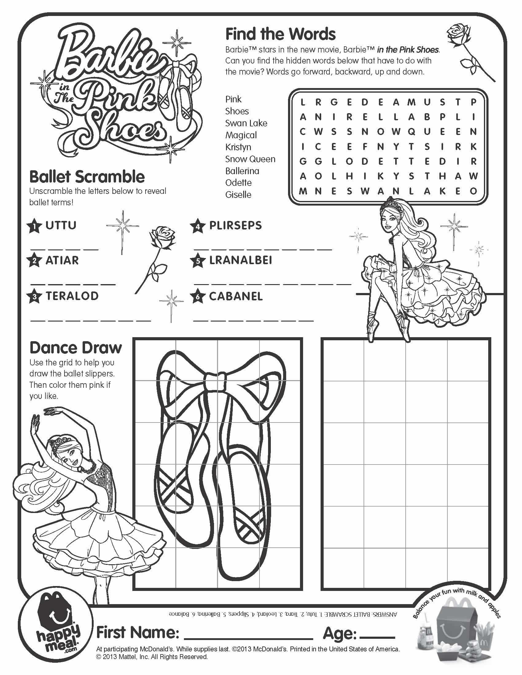 Barbie Pink Shoes Coloring Pages