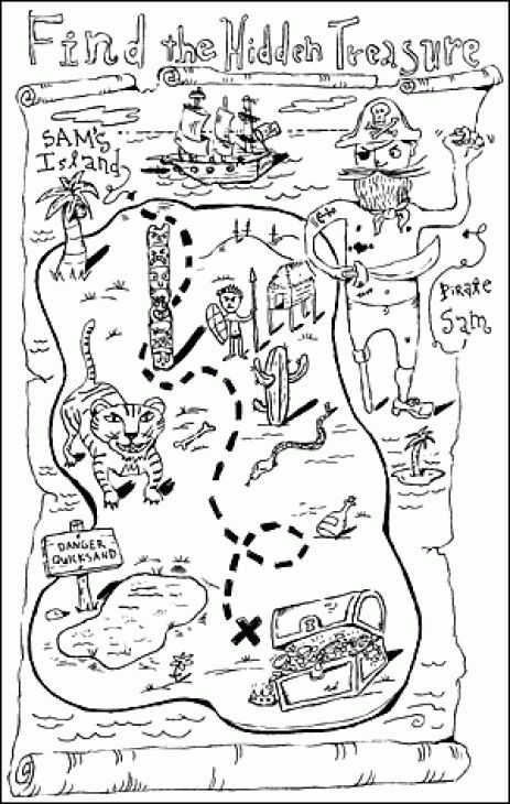 Pirate Treasure Map Coloring Pages Sketch Coloring Page