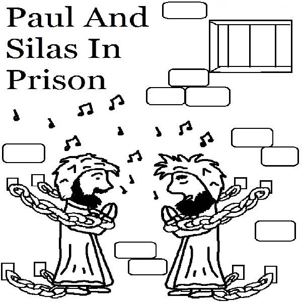 Free coloring pages of peter and silas in prison
