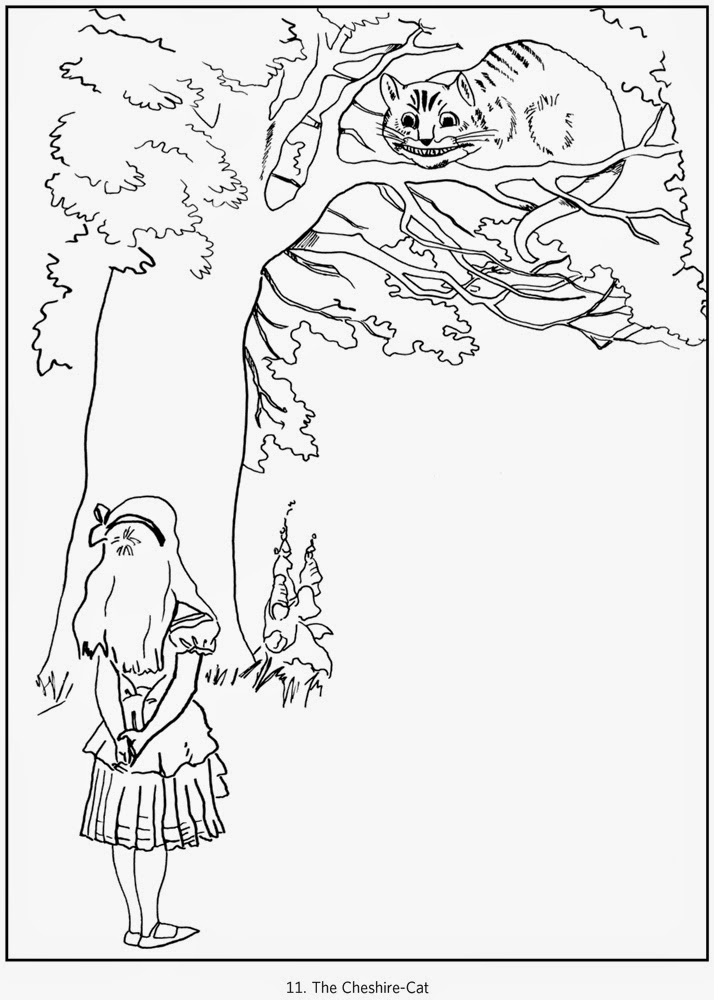 Alice Wonderland Cheshire Cat Coloring Pages Sketch