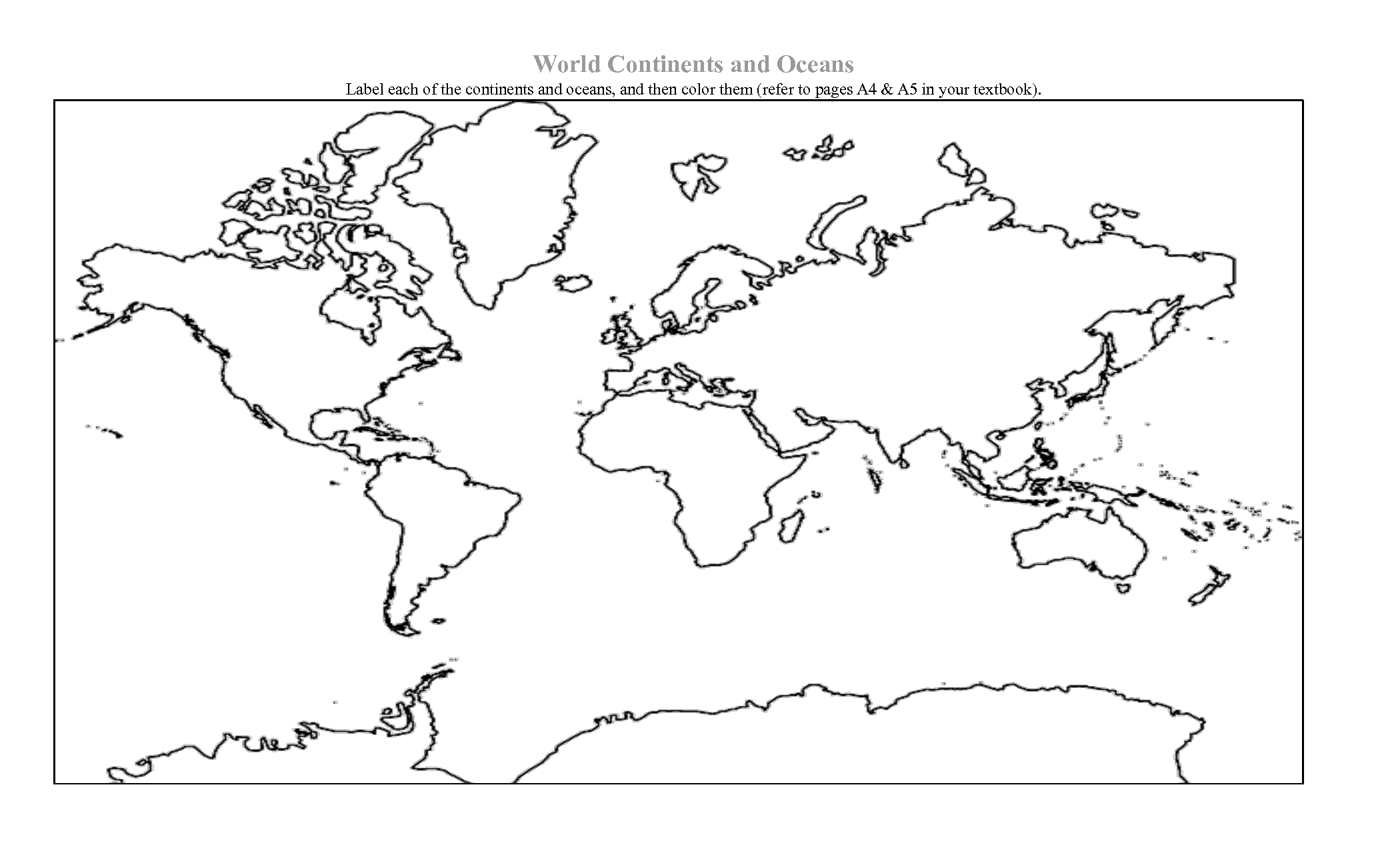 Coloring Page Of World Map