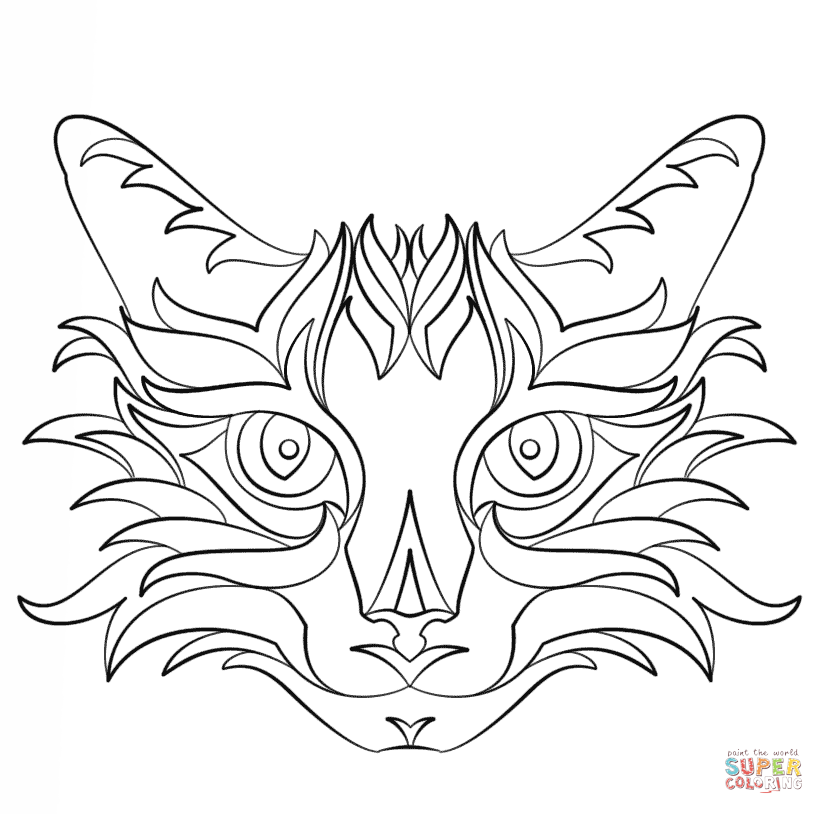 Abstract Cat Printable Coloring Page