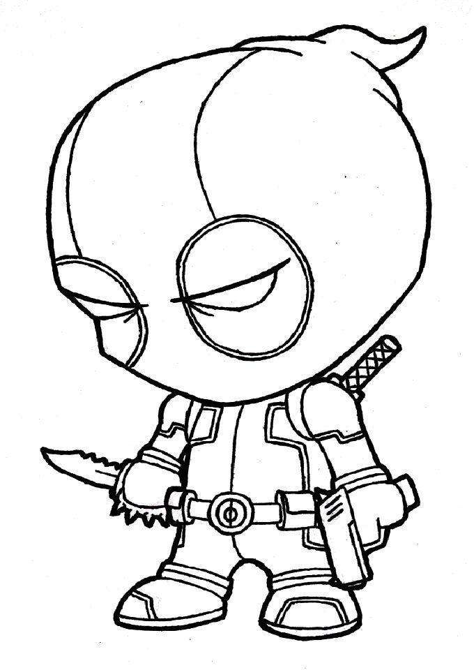 Chibi Deadpool Coloring Pages Free