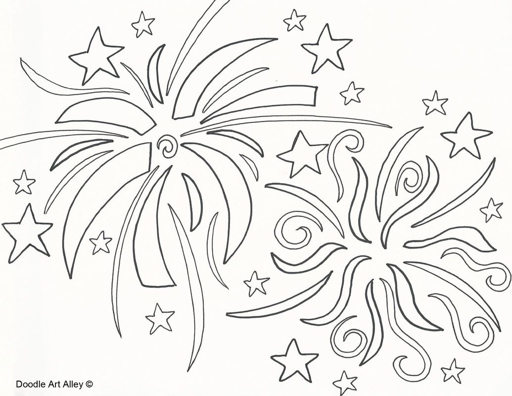 Free Download Firework Coloring Pages