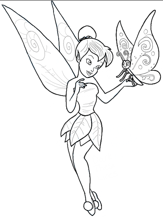 Outline Sketches Tinkerbell