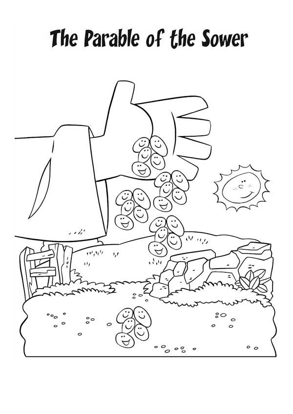 Sower Seed Parable Coloring Page For Kids Sketch Coloring Page