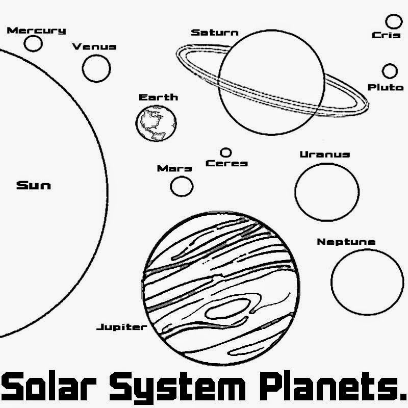 Black And White Outline Of Solar System