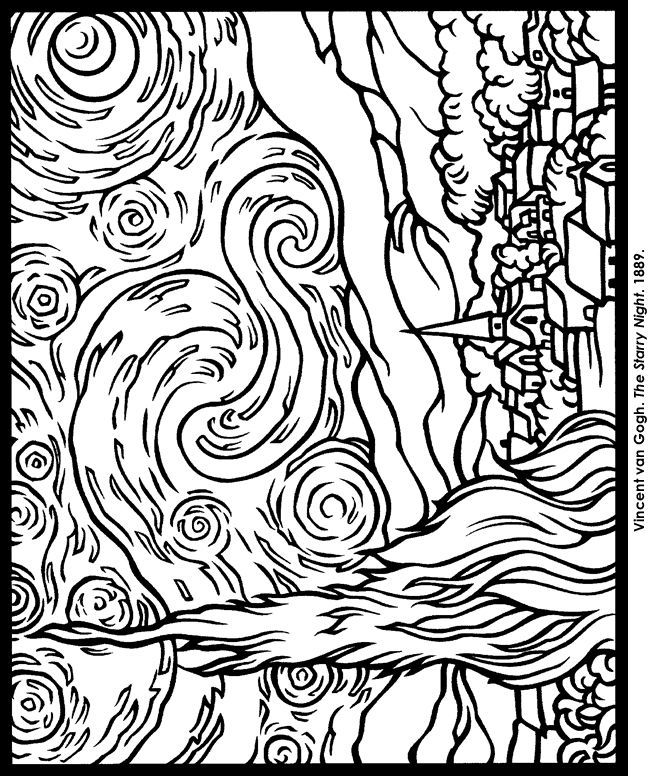 Starry Night Coloring Pages AZ Coloring Pages
