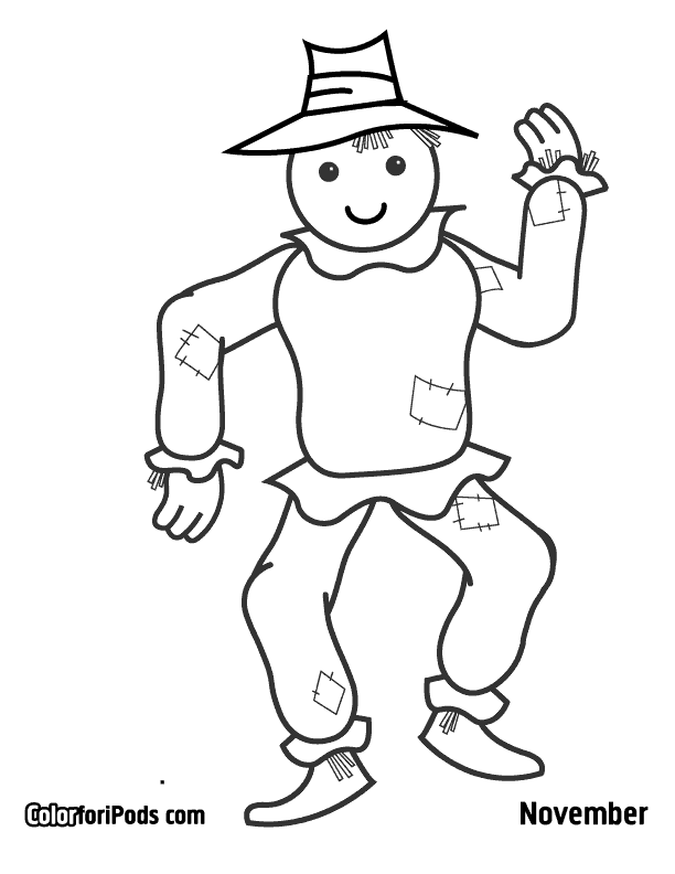Scarecrow Template Printable Sketch Coloring Page