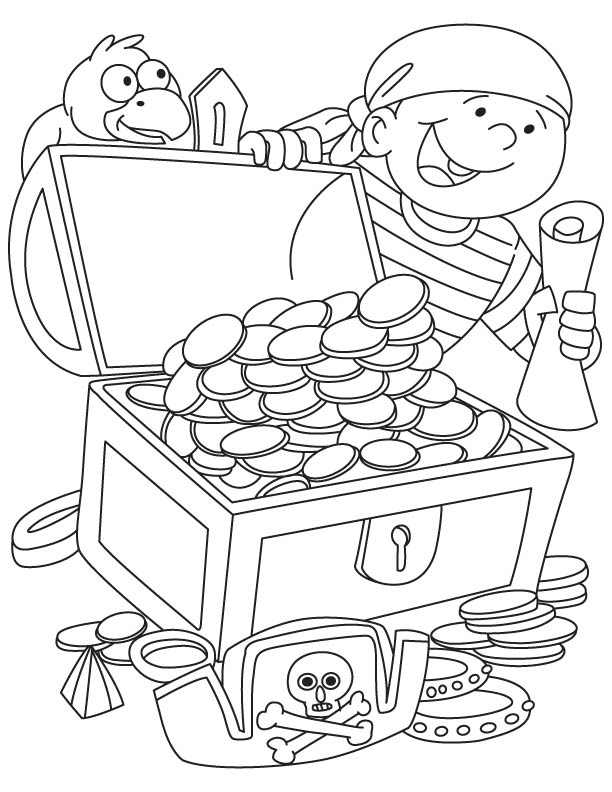 Coloring Page Treasure Chest Home Sketch Coloring Page