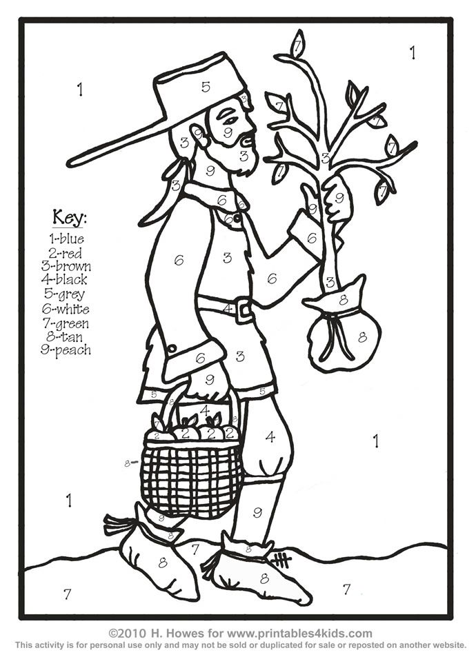 Johnny Appleseed Color With Numbers Coloring Page