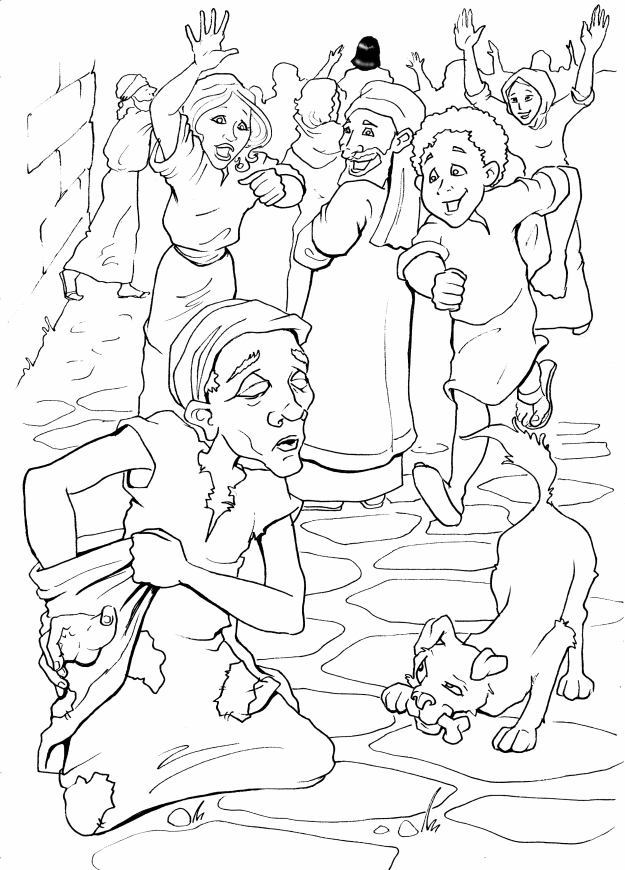 Jesus Heals Blind Bartimaeus Coloring Page Coloring Pages