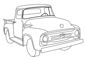 Old Ford Truck Drawing Sketch Coloring Page