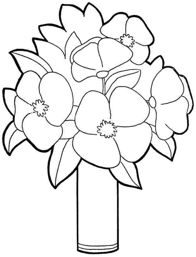 Printable Free Bouquet Flowers Coloring Sheets For