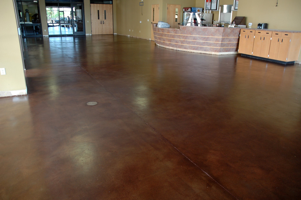 Dark Brown Stained Concrete Floors