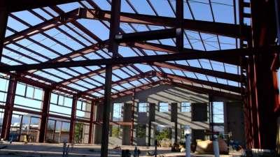 Camp Verde Community Library, Inside, Beginning Construction, Shot of Building Frame Going Up