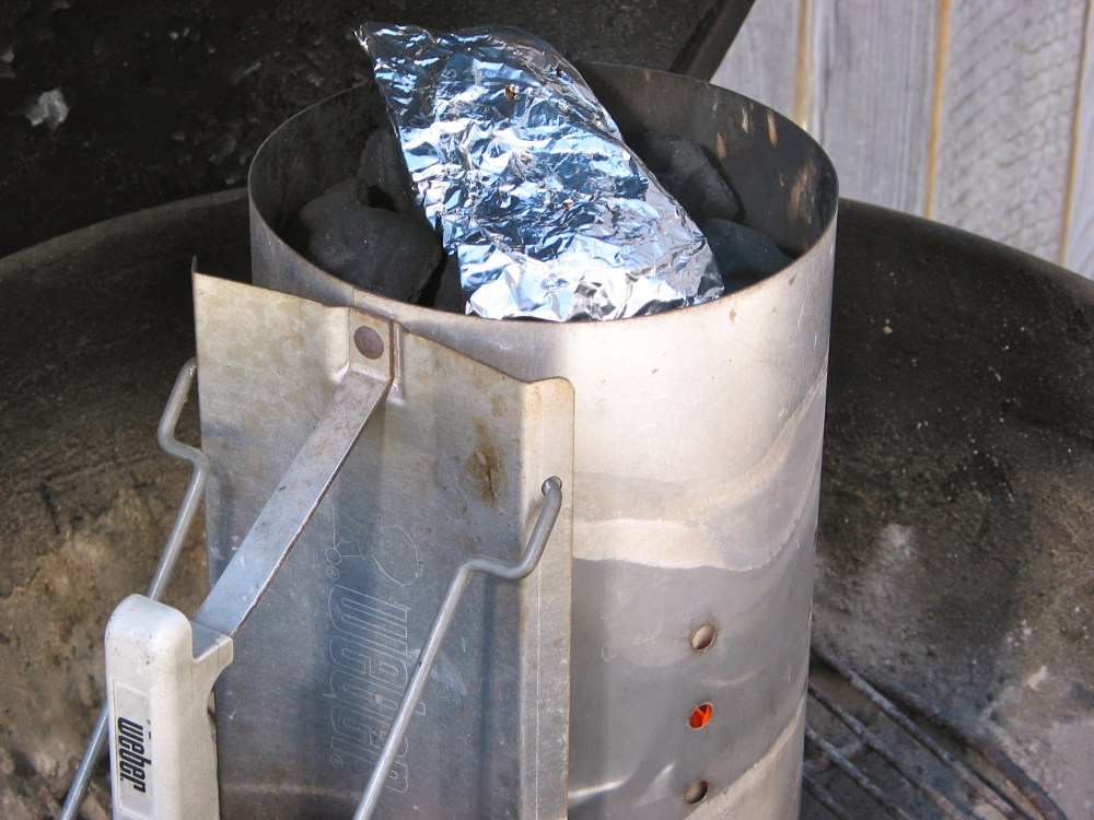 Grilling Tip:  Warm Up Smoking Chips in Charcoal Chimney (1/4)