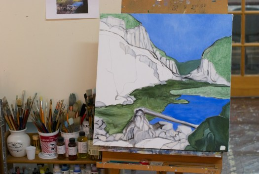 """Paysage planétaire in progress (as of 1/6/2015), oil on canvas, 24x24""""."""