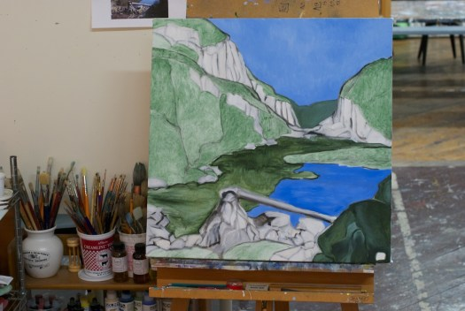 """Underpainting completed, Paysage planétaire, oil on canvas, 24x24"""", in progress"""