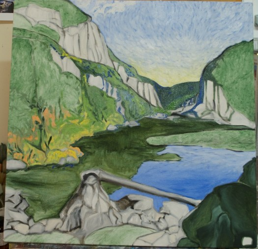 """Paysage planétaire in progress, oil on canvas, 24x24"""""""