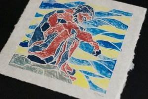 """Seated Man"" whiteline block print, available through Etsy"