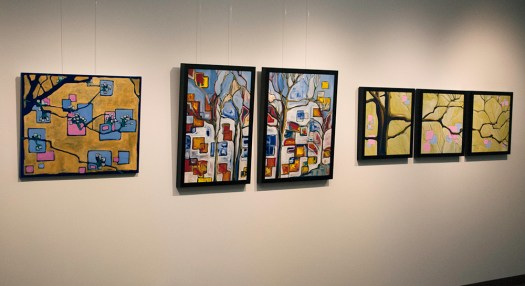 """""""Pear tree ... Early spring"""" alongside other works during my show at Thoughtworks, Summer 2013."""