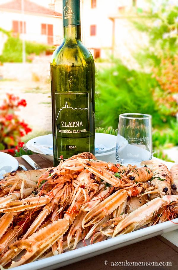 Horvátország - Scampi és Zlahtina fehér bor