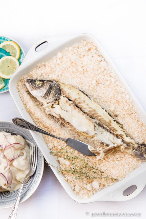 Sóban sült tengeri süllő majonézes burgonyasalátával