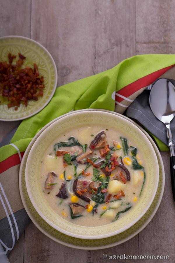 Gombás-kukoricás chowder - hús nélkül shiitake gombával