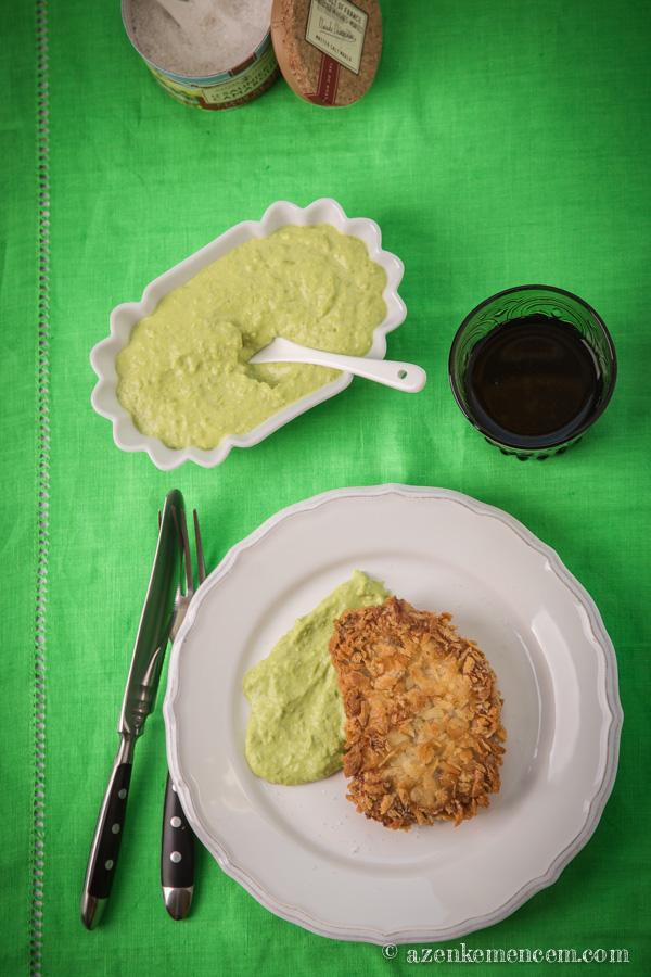 Pankó morzsás mangalicakaraj zöldborsópürével