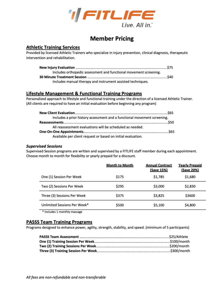 2020 FitLife Pricing Sheet