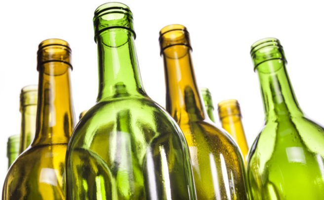 Empty Glass Wine Bottles, Washed And Ready For Recycling. Shallo