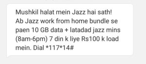 Jazz Work From Home Bundle 10 GB internet just in Rs 88 for week