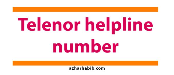 telenor helpline number