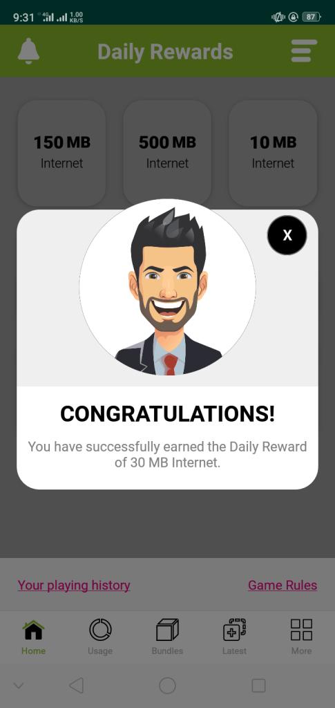 my zong app daily reward