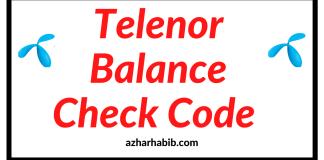 Telenor Balance Check Code 2020