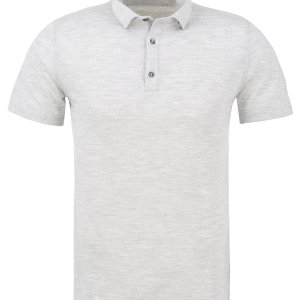 stone rose white jacquard knit polo
