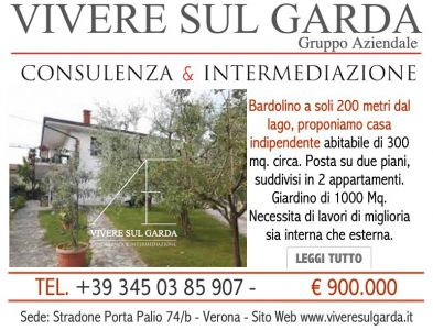 CASA INDIPENDENTE BARDOLINO 300 MQ + 1000 MQ TERRENO