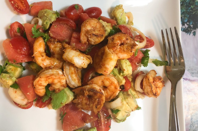 Chili Lime Shrimp, Avocado and Watermelon Salad