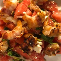 Bacon Wrapped Shrimp with Watermelon Salad