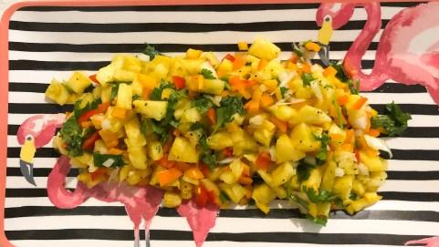 pineapple salsa served