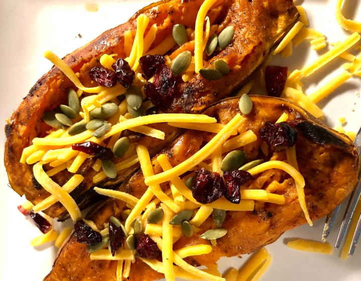 Loaded Pumpkin Spice Sweet Potatoes
