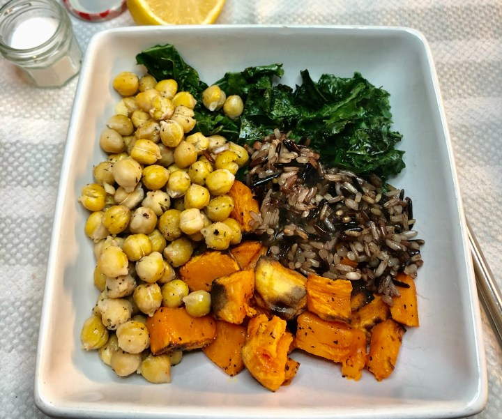 kale sweet potatoes chick peas wild rice
